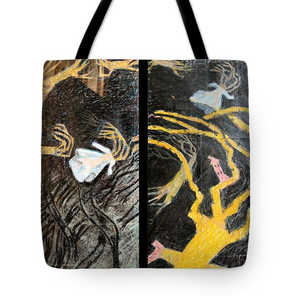 Nude Wedding Dress And Bride In Blood Shoes - Black Tote Bag by Nancy Mauerman