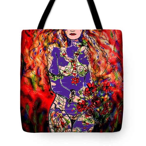 Nude With Flowers Tote Bag by Natalie Holland