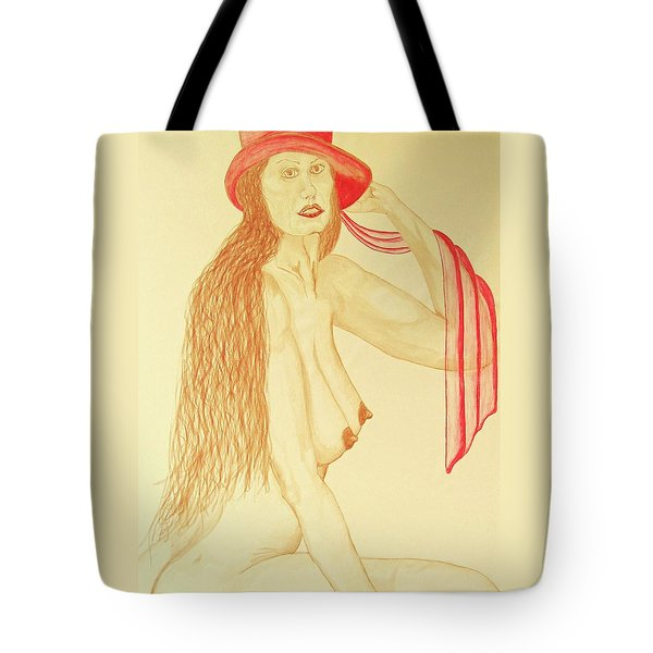 Nude With Red Hat Tote Bag by Rand Swift