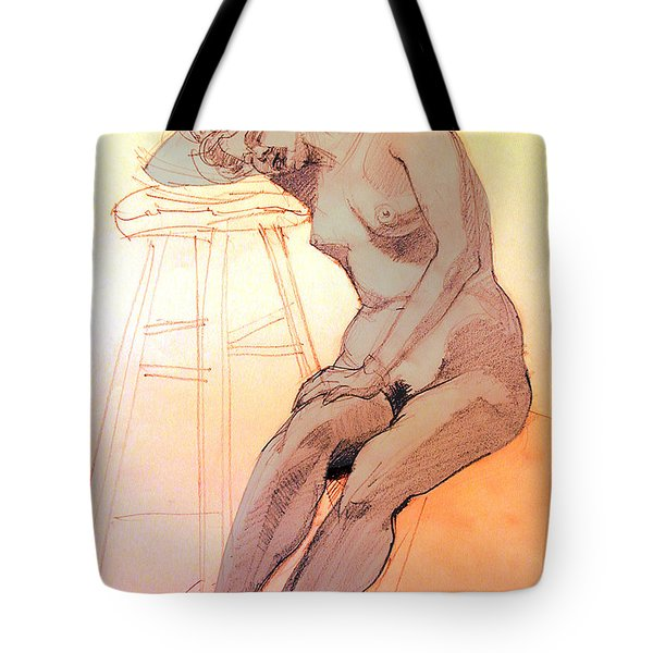 Nude Woman Leaning On A Barstool Tote Bag