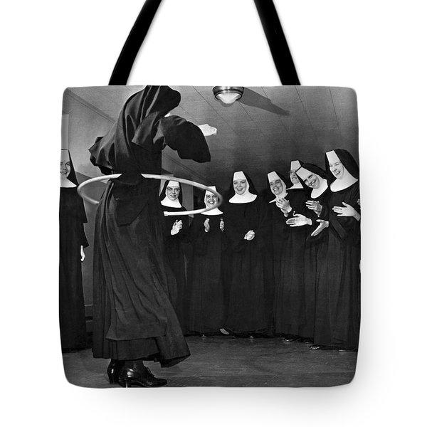 Nun Swivels Hula Hoop On Hips Tote Bag
