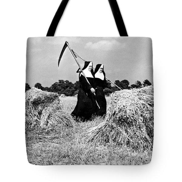 Nuns Harvest Oats In Fields Tote Bag
