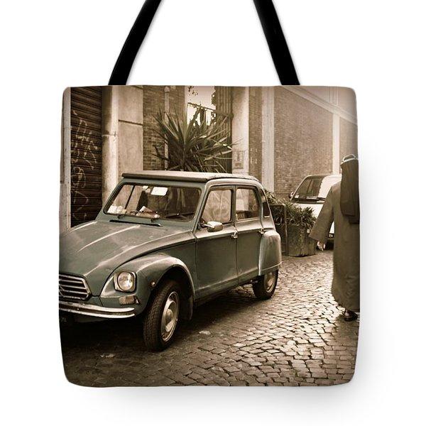Nuns With Vintage Car Tote Bag