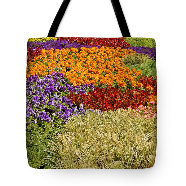 Tote Bag featuring the photograph Nursery Potted Garden Plants Arrangement by JPLDesigns