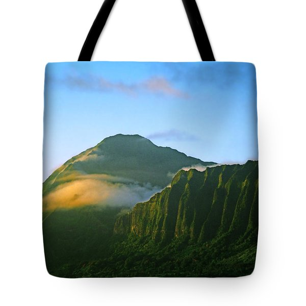 Nuuanu Pali At Sunrise Tote Bag by Kevin Smith