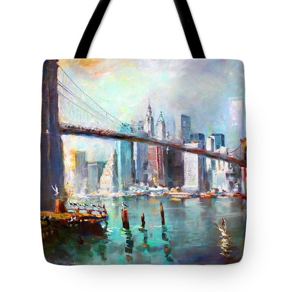 Ny City Brooklyn Bridge II Tote Bag by Ylli Haruni