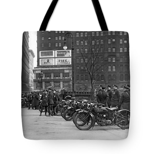 Ny Motorcycle Police Tote Bag by Underwood Archives
