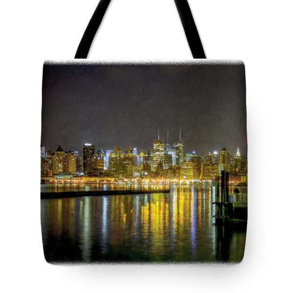 Nyc At Night Faux Oil Tote Bag
