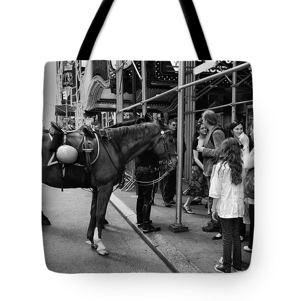 Nyc Police Horse Tote Bag by Mark Jordan