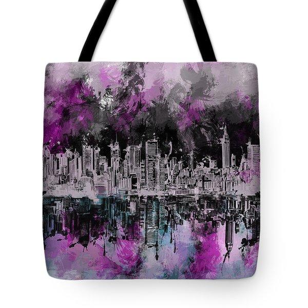 Nyc Skyline Brush Strokes Tote Bag