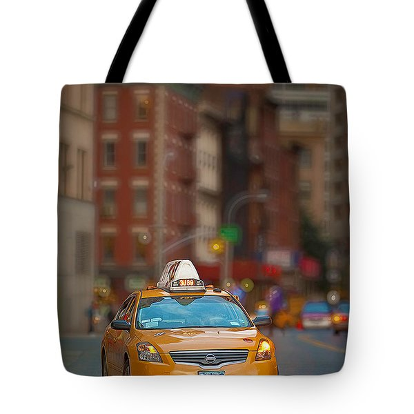 Tote Bag featuring the digital art Taxi by Jerry Fornarotto