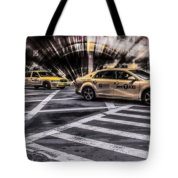 Nyc Yellow Cab On 5th Street - White Tote Bag