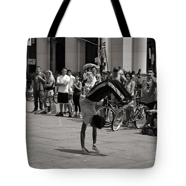 Tote Bag featuring the photograph Nycity Street Performer by Angela DeFrias