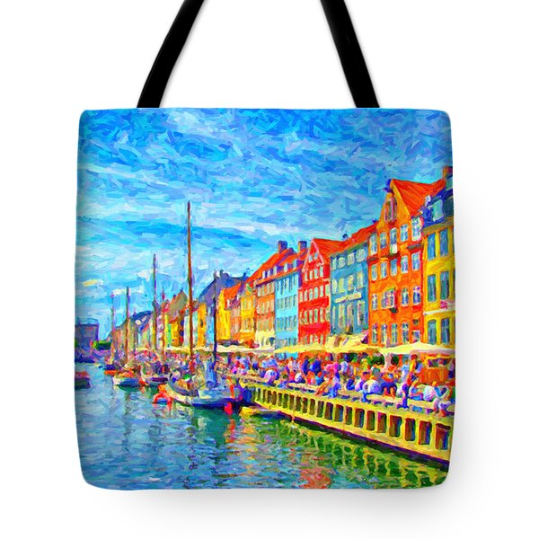Nyhavn In Denmark Painting Tote Bag