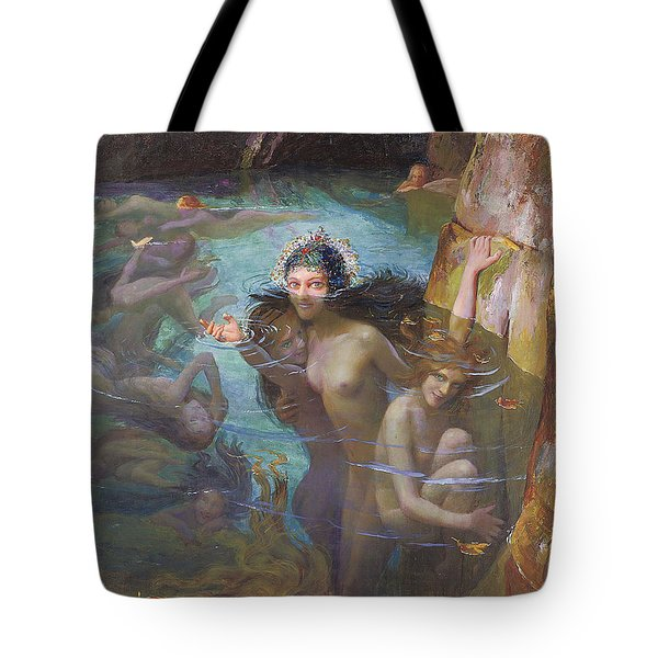 Nymphs At A Grotto Tote Bag by Gaston Bussiere