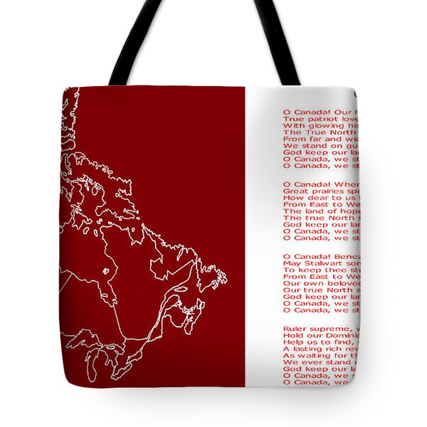 O Canada Lyrics And Map Tote Bag