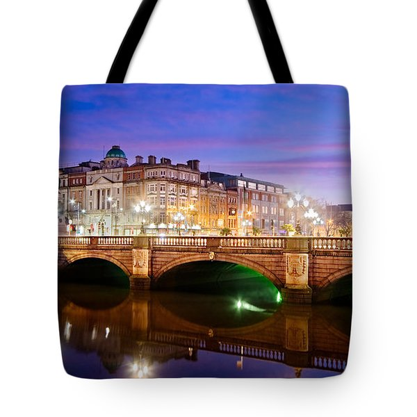 O Connell Bridge At Night - Dublin Tote Bag