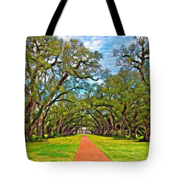 Oak Alley 3 Oil Tote Bag by Steve Harrington