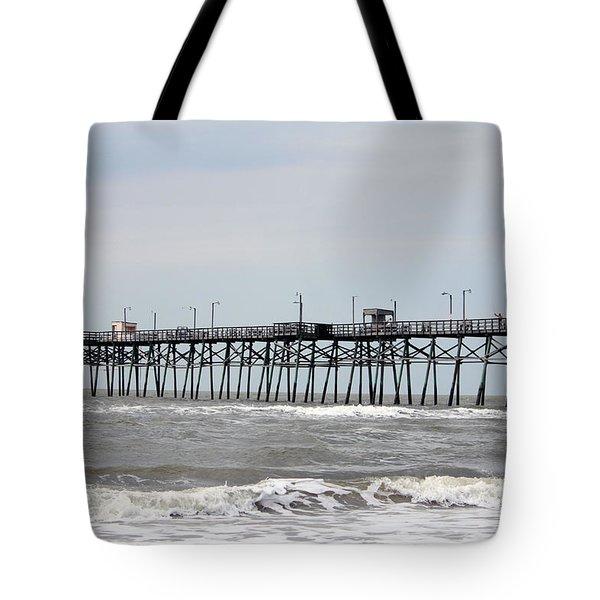 Oak Island Beach Pier Tote Bag