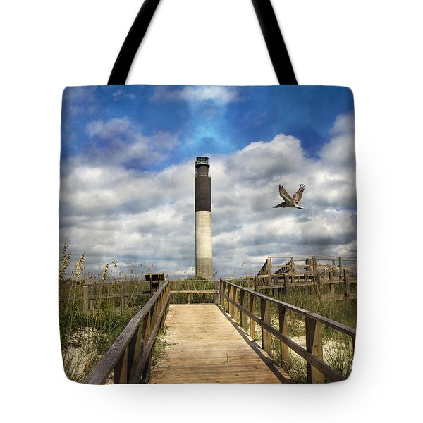 Oak Island Lighthouse Tote Bag by Betsy Knapp