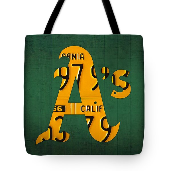 Oakland Athletics Vintage Baseball Logo License Plate Art Tote Bag