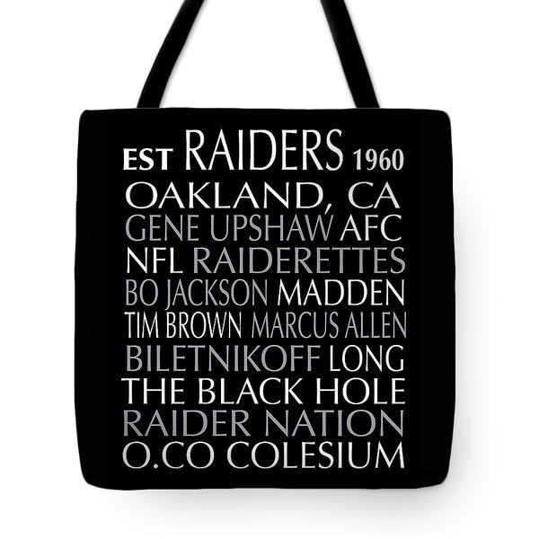 Tote Bag featuring the digital art Oakland Raiders by Jaime Friedman