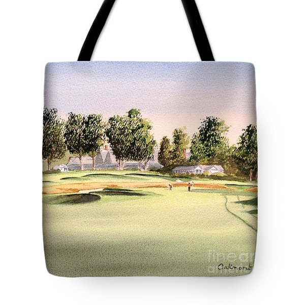 Tote Bag featuring the painting Oakmont Golf Course 14th by Bill Holkham