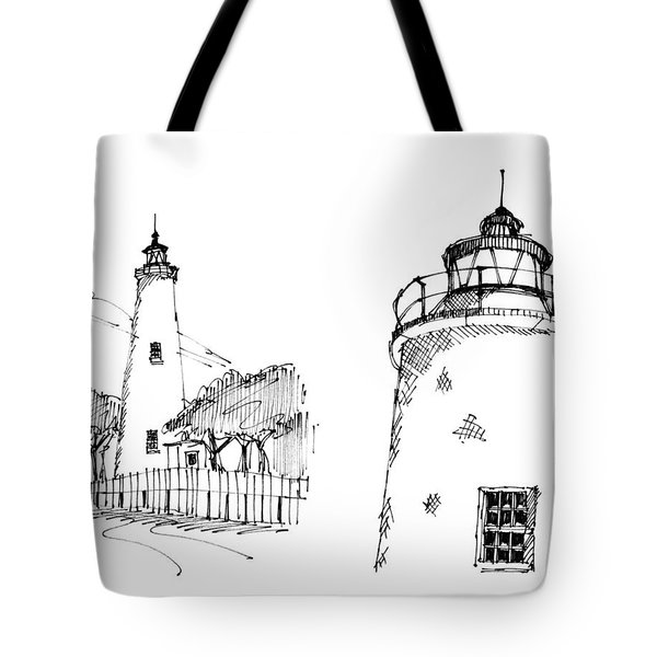 Tote Bag featuring the drawing Ocaracoke Lighthouse Detail Sketches 1992 by Richard Wambach