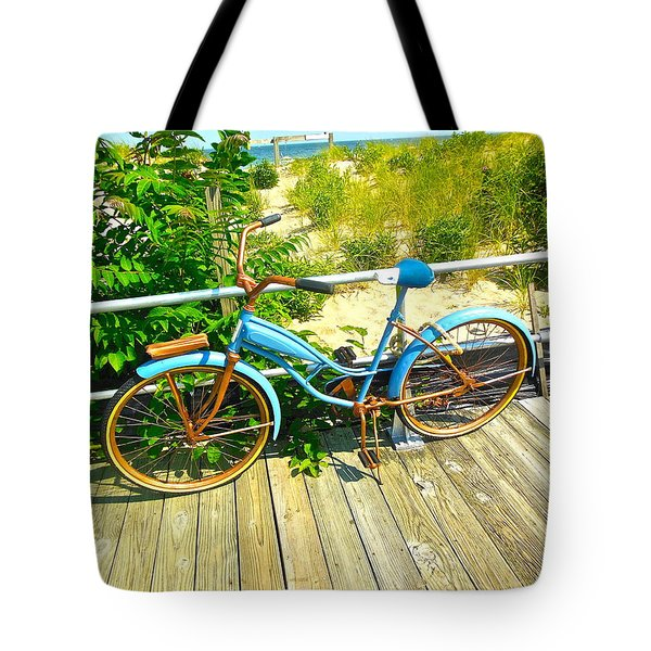 Tote Bag featuring the photograph Ocean Grove Bike by Joan Reese
