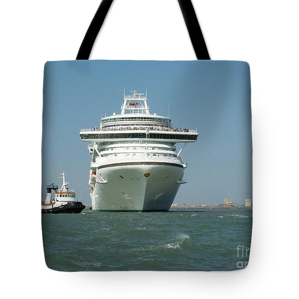 Ocean Liner And Boat Tote Bag by Evgeny Pisarev