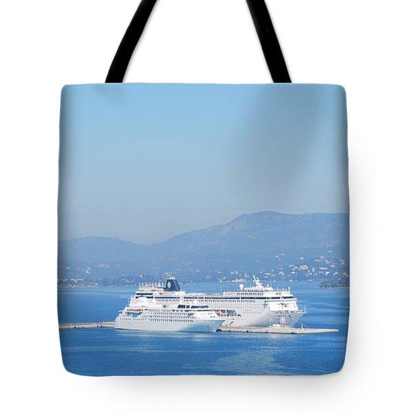 Ocean Liners In Corfu Tote Bag