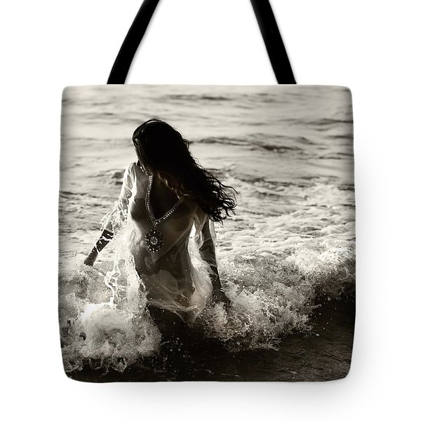 Ocean Mermaid Tote Bag by Jenny Rainbow