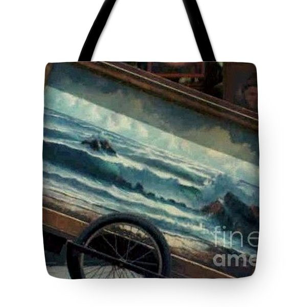 Tote Bag featuring the photograph Ocean On Wheels Artist Cart At Jackson Square New Orleans La Usa by Michael Hoard