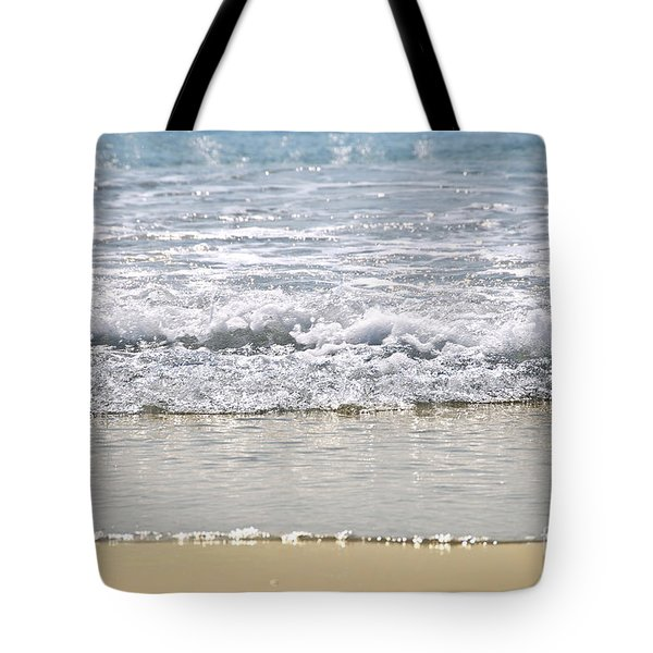 Ocean Shore With Sparkling Waves Tote Bag by Elena Elisseeva