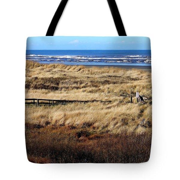Ocean Shores Boardwalk Tote Bag by Jeanette C Landstrom