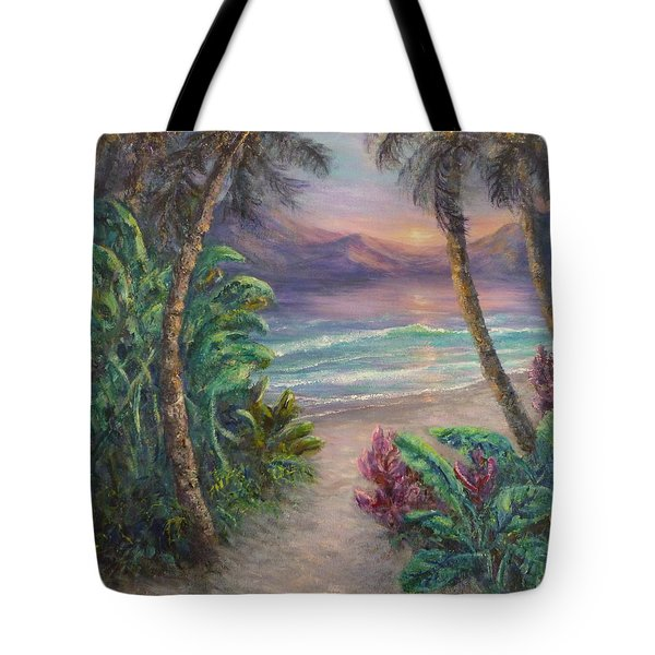 Ocean Sunrise Painting With Tropical Palm Trees  Tote Bag