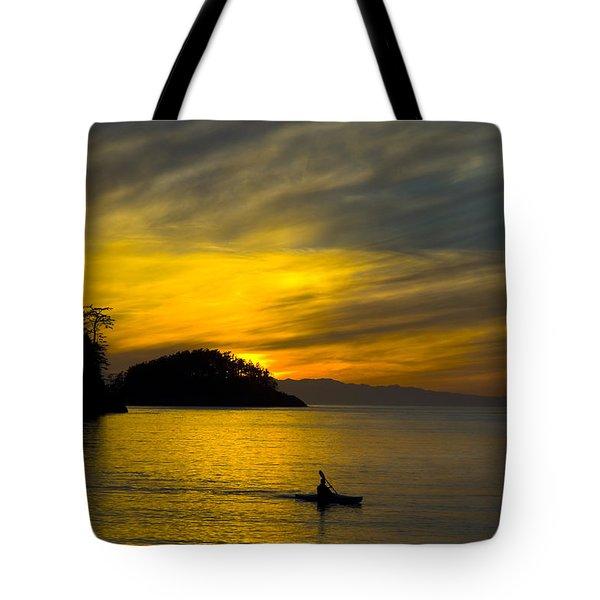 Ocean Sunset At Rosario Strait Tote Bag