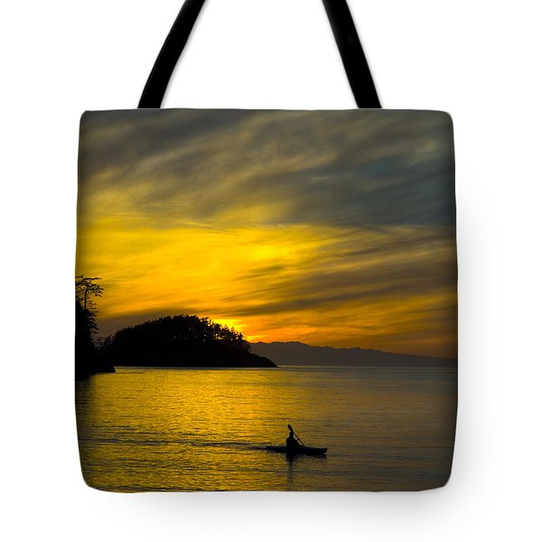 Ocean Sunset At Rosario Strait Tote Bag