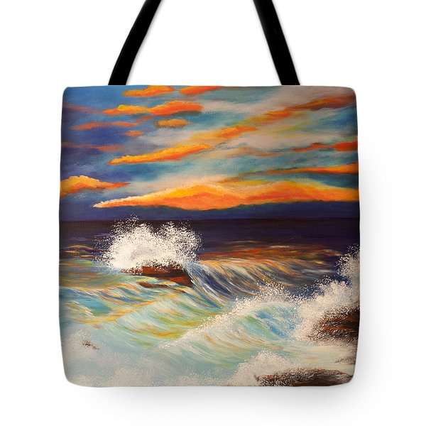 Tote Bag featuring the painting Ocean Sunset by Michelle Joseph-Long