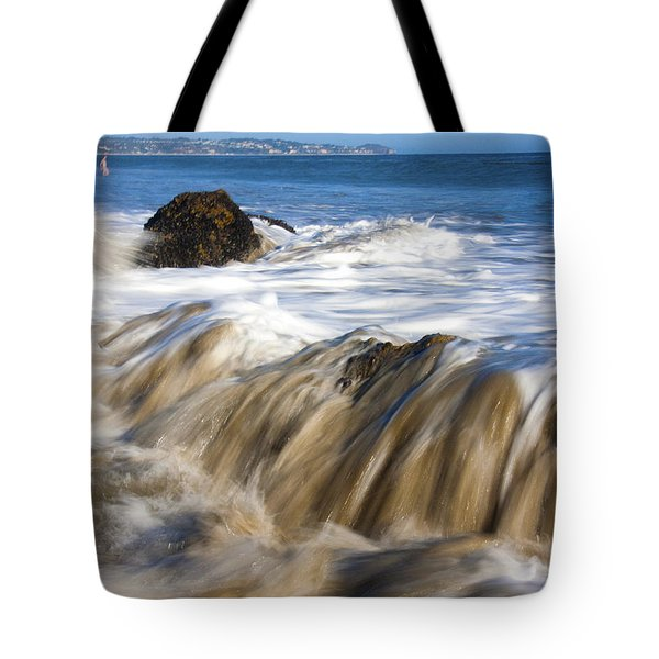 Ocean Waves Breaking Over The Rocks Photography Tote Bag by Jerry Cowart
