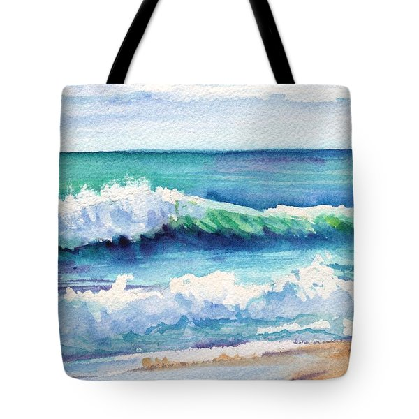 Tote Bag featuring the painting Ocean Waves Of Kauai I by Marionette Taboniar