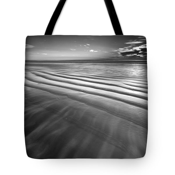Ocean Waves Seascape Beach Sunrise Photograph In Black And White Tote Bag