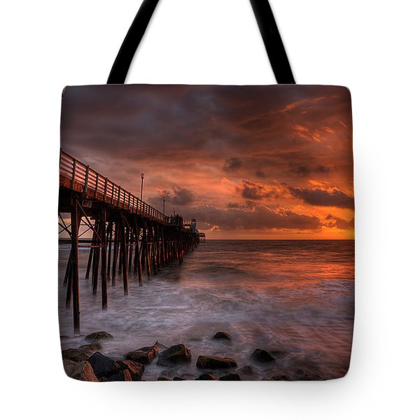 Oceanside Pier Perfect Sunset -ex-lrg Wide Screen Tote Bag