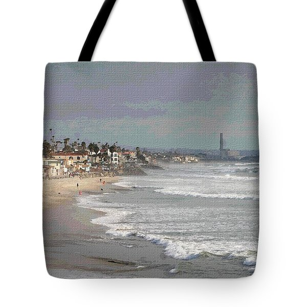 Tote Bag featuring the photograph Oceanside South Of Pier by Tom Janca