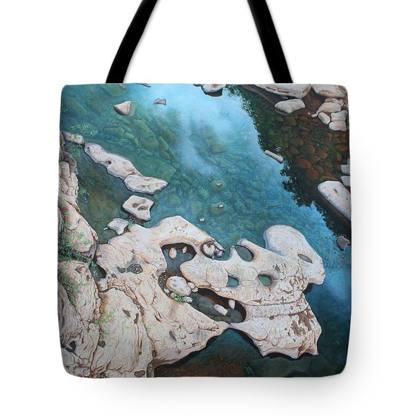 Tote Bag featuring the painting Ocoee River Low Tide by Mike Ivey