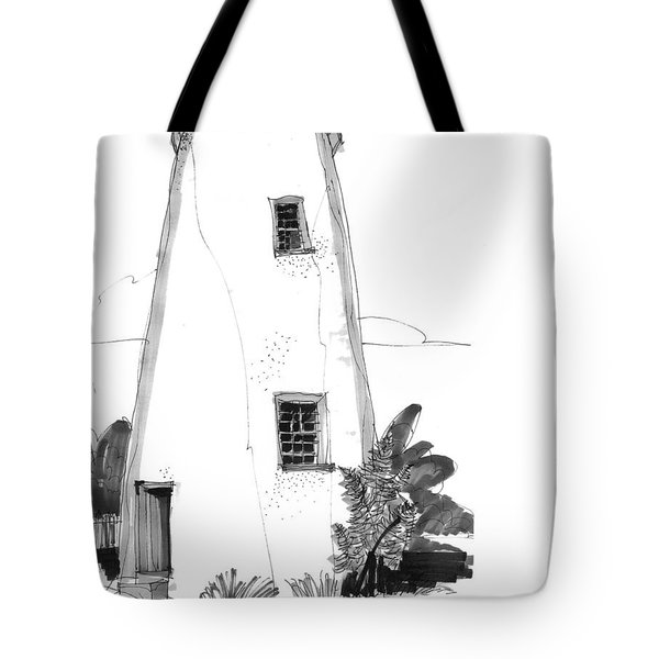 Tote Bag featuring the drawing Ocracoke Light 1970s by Richard Wambach