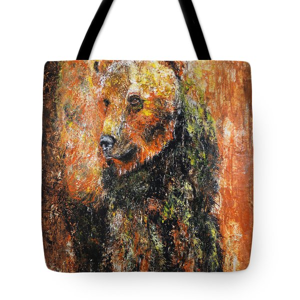 Abstract Bear Painting October Bear Tote Bag by Jennifer Godshalk