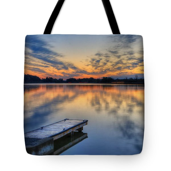 October Sunrise At Lake White Tote Bag by Jaki Miller