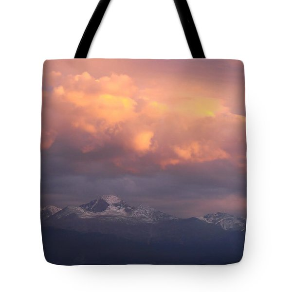 October Sunset Over Longs Peak Tote Bag by Margaret Bobb