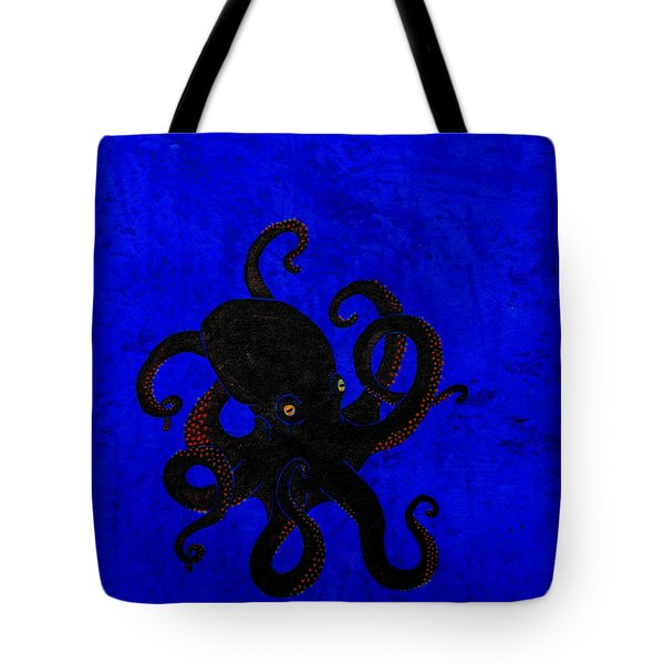 Octopus Black And Blue Tote Bag by Stefanie Forck